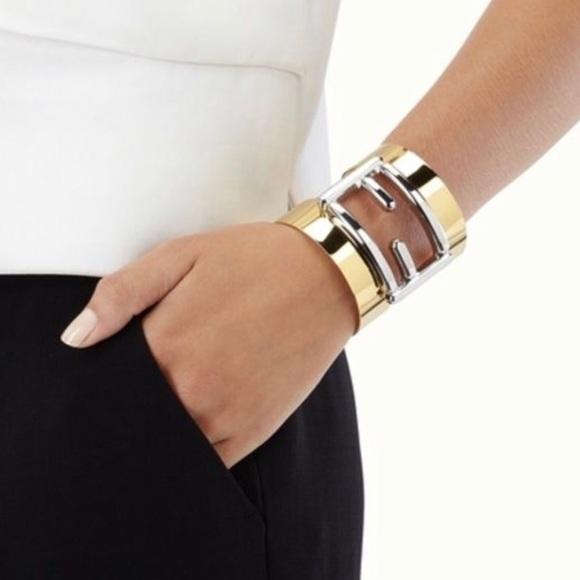 36f82c3bac3 Fendi Two-Tone Gold Silver Logo Cuff Bracelet